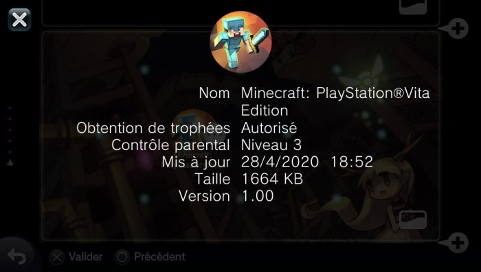 Minecraft PS Vita bloqué en version 1.00