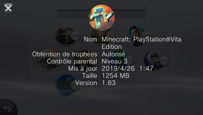 Minecraft PS Vita en version 1.83