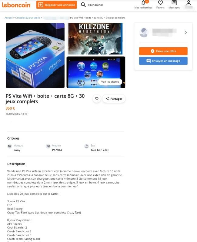 PS Vita sur Le Bon Coin