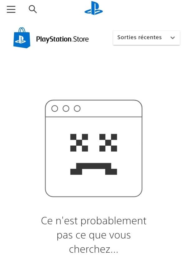 PlayStation Store : message d'erreur sur mobile