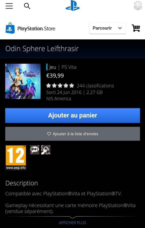 Odin Sphere Leifthrasir sur le PlayStation Store PS Vita