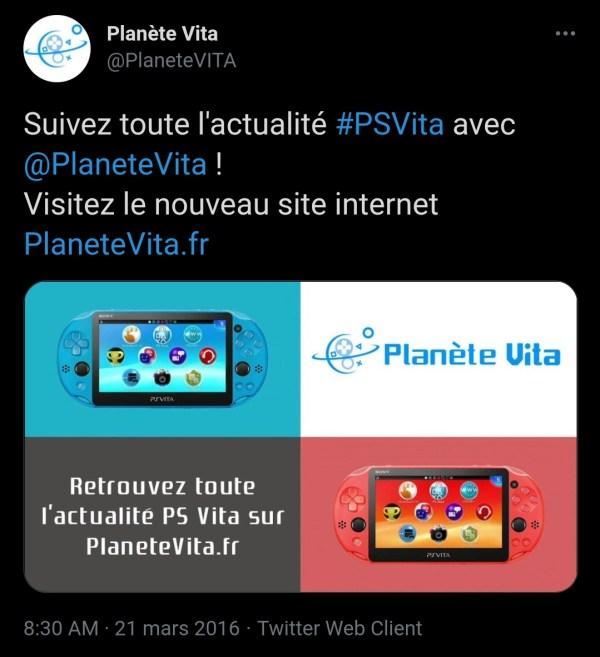 Tweet lancement Planète Vita