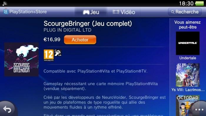ScourgeBringer PlayStation Store PS Vita