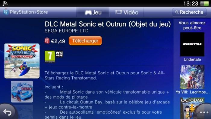 Sonic Racing DLC PS Vita
