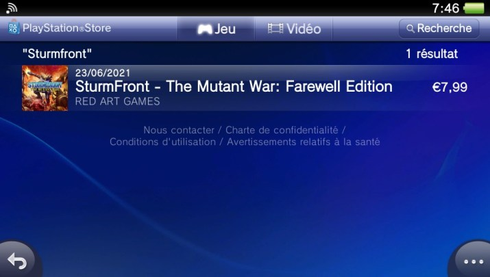 SturmFront PlayStation Store PS Vita