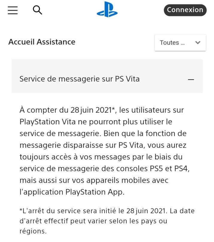Arrêt messages PS Vita