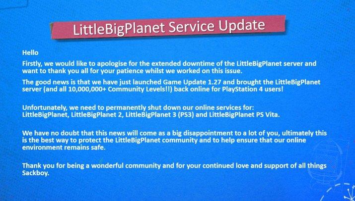 LittleBigPlanet fermeture serveurs en ligne