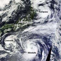 Tempêtes tropicales Kompasu et Lionrock, Typhon Mindulle dans le Pacifique Nord-Ouest (août 2016)