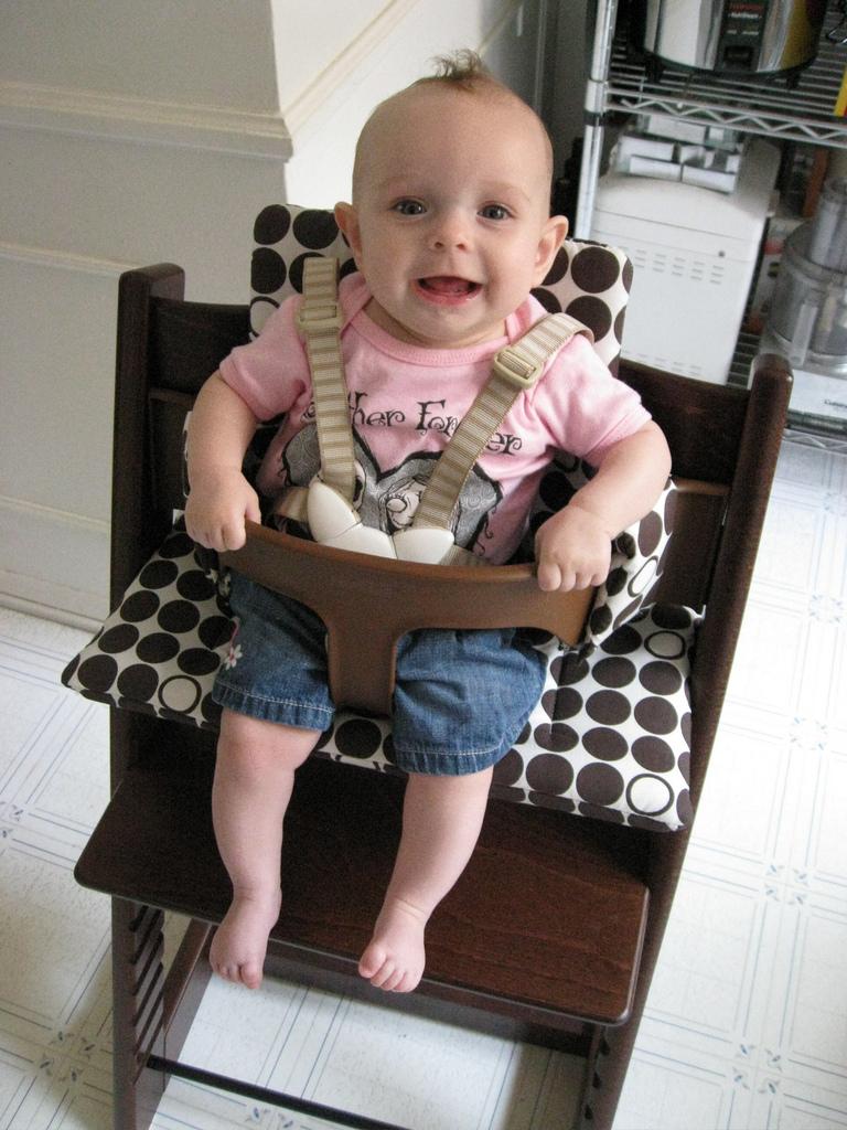 Greta in her new Stokke Tripp Trapp high chair #2