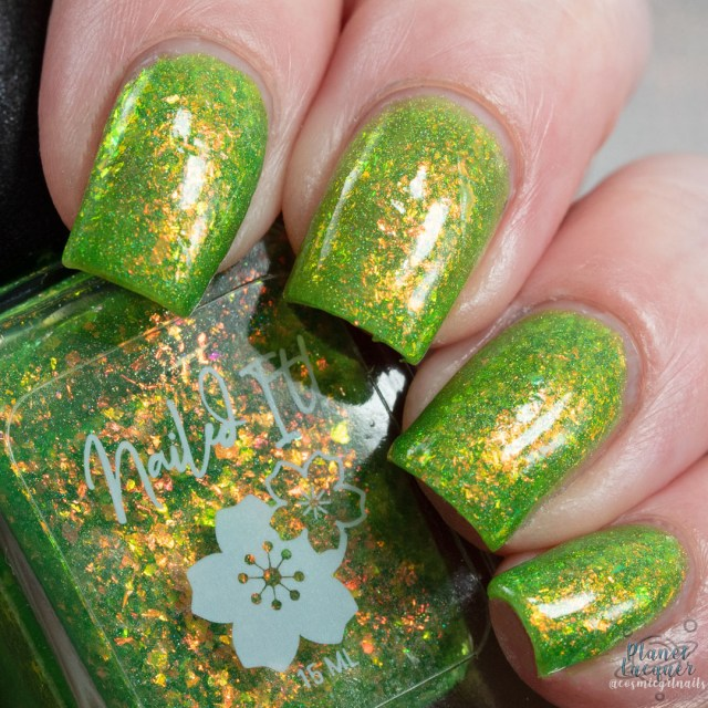 Pictured is a swatch of four fingers painted by Britta in the nail polish Lush apart of the four piece Secret Garden Collection by Nailed It! Nail Polish.
