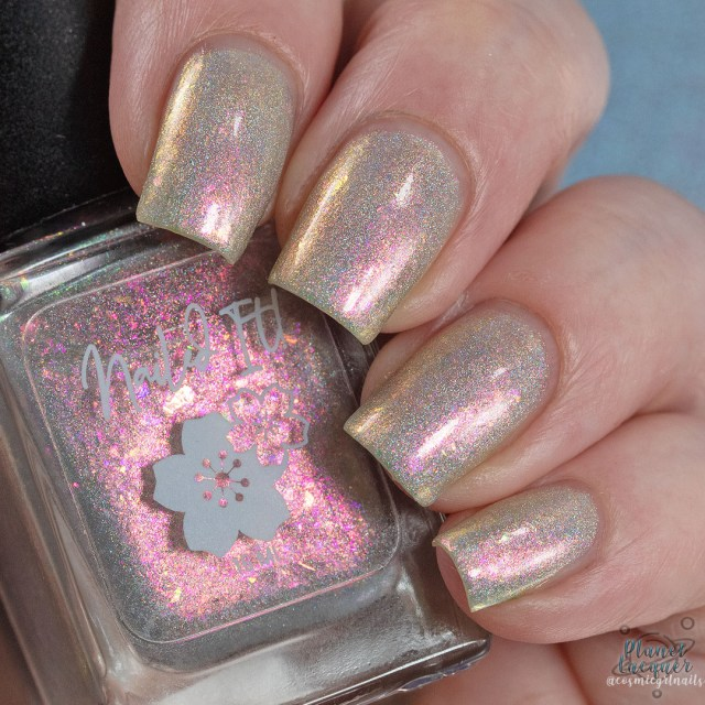 Pictured is a swatch of four fingers painted by Britta in the nail polish Metamorphosis apart of the four piece Secret Garden Collection by Nailed It! Nail Polish.