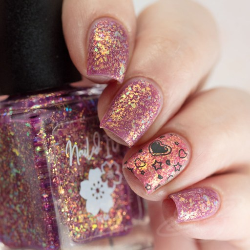 4 finger swatch of Nailed It Nail Polish Love Bug one of four polishes in the Candygram Collection Matte Nail Art