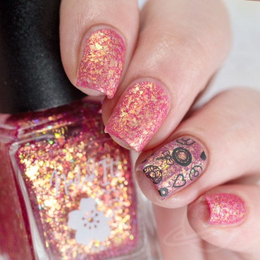 4 finger swatch of Nailed It Nail Polish Sweet Pea one of four polishes in the Candygram Collection Matte Nail Art