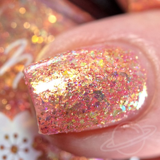 4 finger swatch of Nailed It Nail Polish Cutie Pie one of four polishes in the Candygram Collection Macro