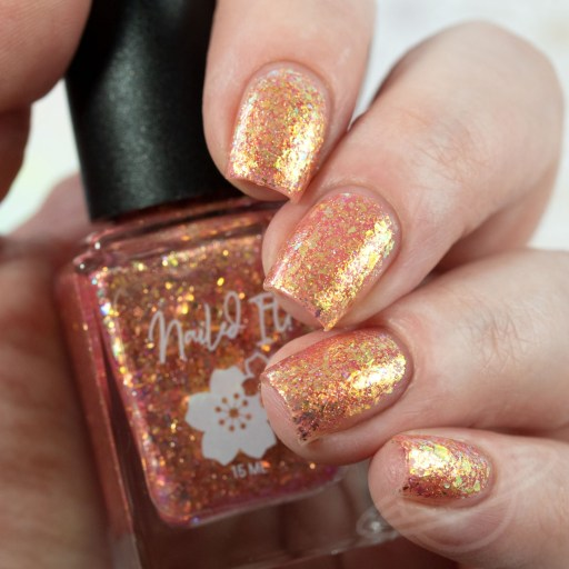 4 finger swatch of Nailed It Nail Polish Cutie Pie one of four polishes in the Candygram Collection