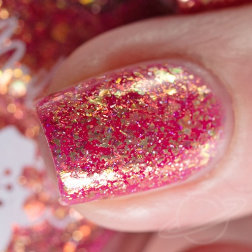 4 finger swatch of Nailed It Nail Polish Sweet Pea one of four polishes in the Candygram Collection Macro