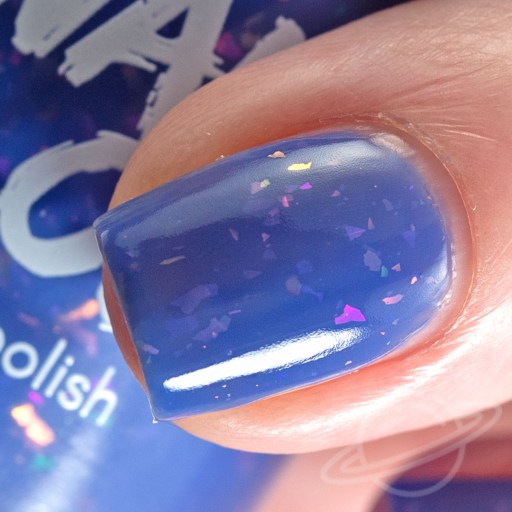 1 Finger macro nail swatch of I'm Gonna Ignore Your Advice - a periwinkle crelly with iridescent flakies nail polish by brand Swamp Gloss from The Charity Box Book Club February 2021