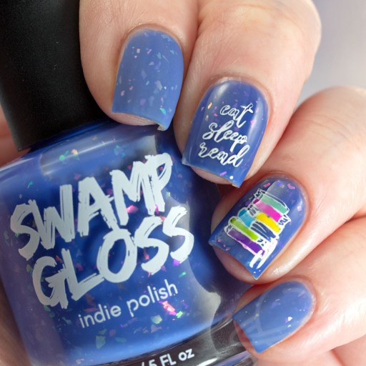 4 Finger nail swatch of I'm Gonna Ignore Your Advice - a periwinkle crelly with iridescent flakies nail polish by brand Swamp Gloss from The Charity Box Book Club February 2021 with Nail art