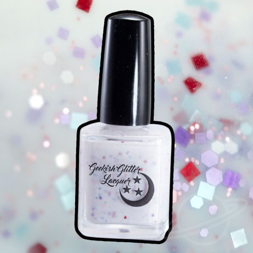 Picture of nail polish bottle created by Geekish Glitter Lacquer Peeps Party - A white crelly base with a mix of pastel purple, pink, blue, and red glitters in varying shapes and sizes