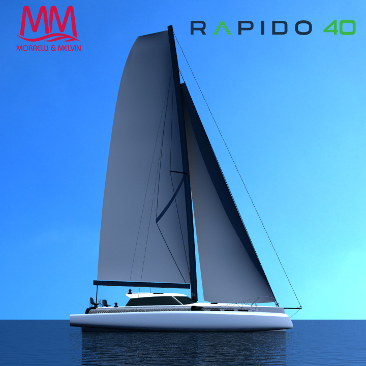 Rapido 40 rendered side drawing under sail
