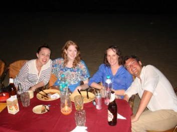 Last dinner on the beach with the gang - charlie looking a bit...sun kissed.