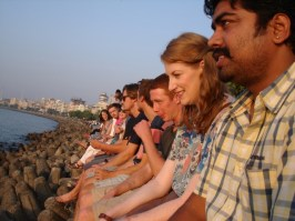 The GAdventures gang watch the sunset, Marine drive.