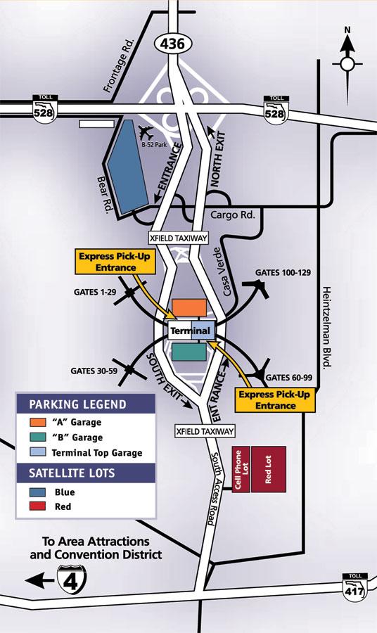Orlando Airport Cell Phone Lot : orlando, airport, phone, Схема, парковок, аэропорта, Орландо., Planetolog.ru