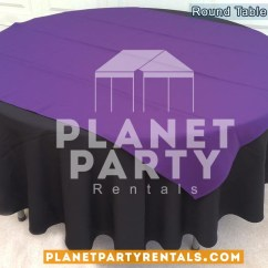 Black Chair Covers Party City Steel Frame Design Round Tablecloth On Table With Purple Diamond/overlay | San Fernando Valley