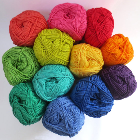 Planet Penny Cotton Colours Pack of 12 rainbow yarns