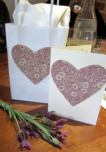 card and gift bag made with vintage Laura Ashley wallpaper hearts