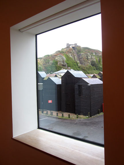 Black sheds in Hastings, seen from Jerwood Gallery