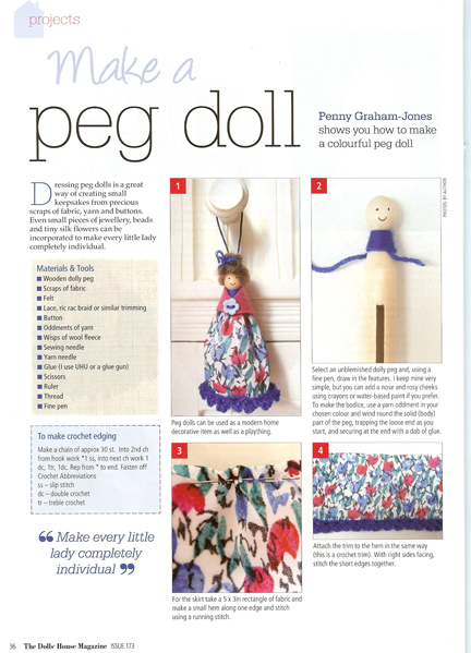 Dolls' House Magazine Dolly Peg doll feature Page 2