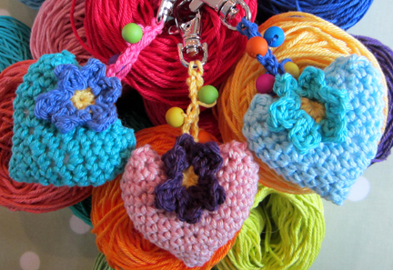 crochet hearts on clip