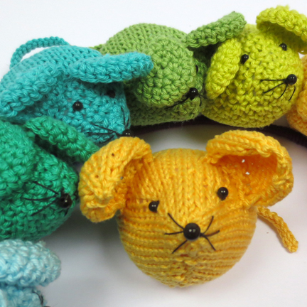 Knitted and Crochet Rainbow Mice