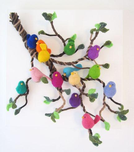 needlefelt birds on a branch