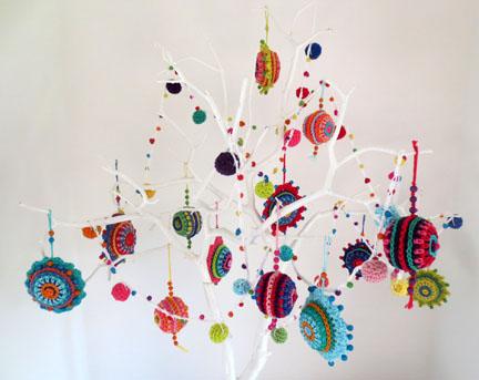 branch of crochet balls