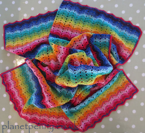 Ripple Stitch baby blanket - Planet Penny cotton