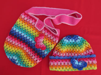 Granny square hat and bag in Planet Penny Cotton Colours