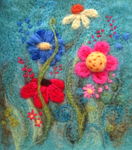 Needlefelt with embroidery