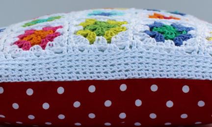 Granny Square cushion - Planet Penny Cotton Colours