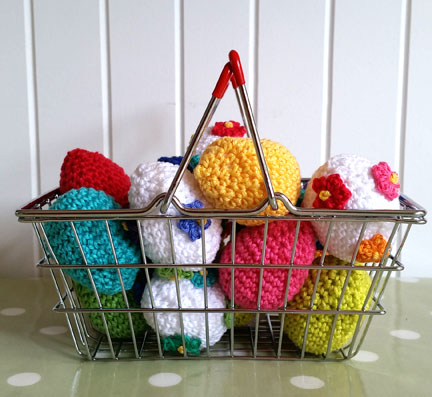 crochet eggs in a basket