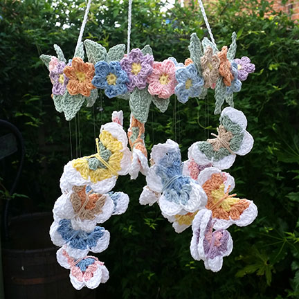Crochet Butterfly & Flower Mobile made in Planet Penny Cotton Pastels _PDF pattern & yarn - Planet Penny