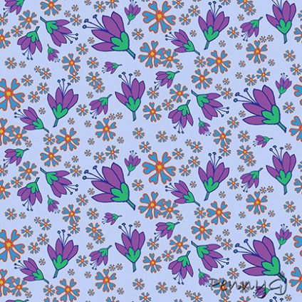 Purple flowers pattern - PennyGJ