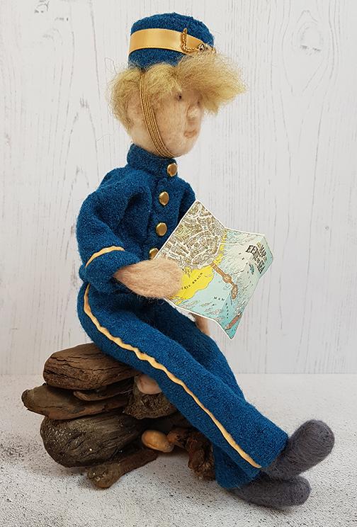 Needlefelt sculpture of the character Herbert Lemon from the book, Malamander