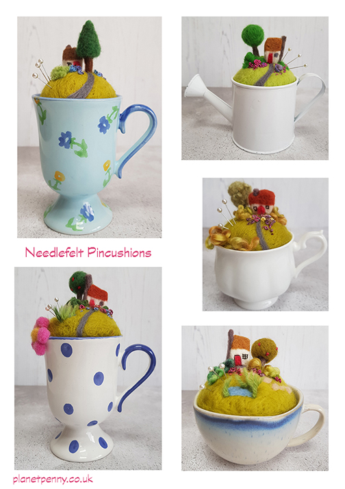 Needlefelt pincushions in china cups