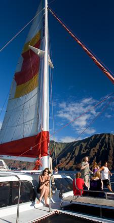 Bev on Cap'n Andy's boat.