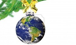 daily-planet-earth-with-golden-bow-on-christmas-tree-on-white-square-background