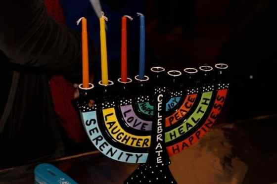 One of the many colorful menorahs at Chanukah for the Record.