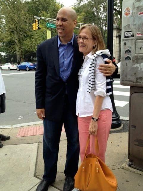 Princeton Councilwoman Jo Butler gets her picture taken with Cory Booker.