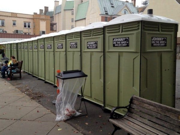 Portapotty row at Victory Village.
